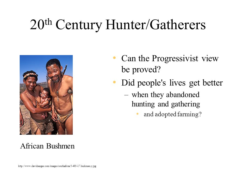 20 th Century Hunter/Gatherers Can the Progressivist view be proved.