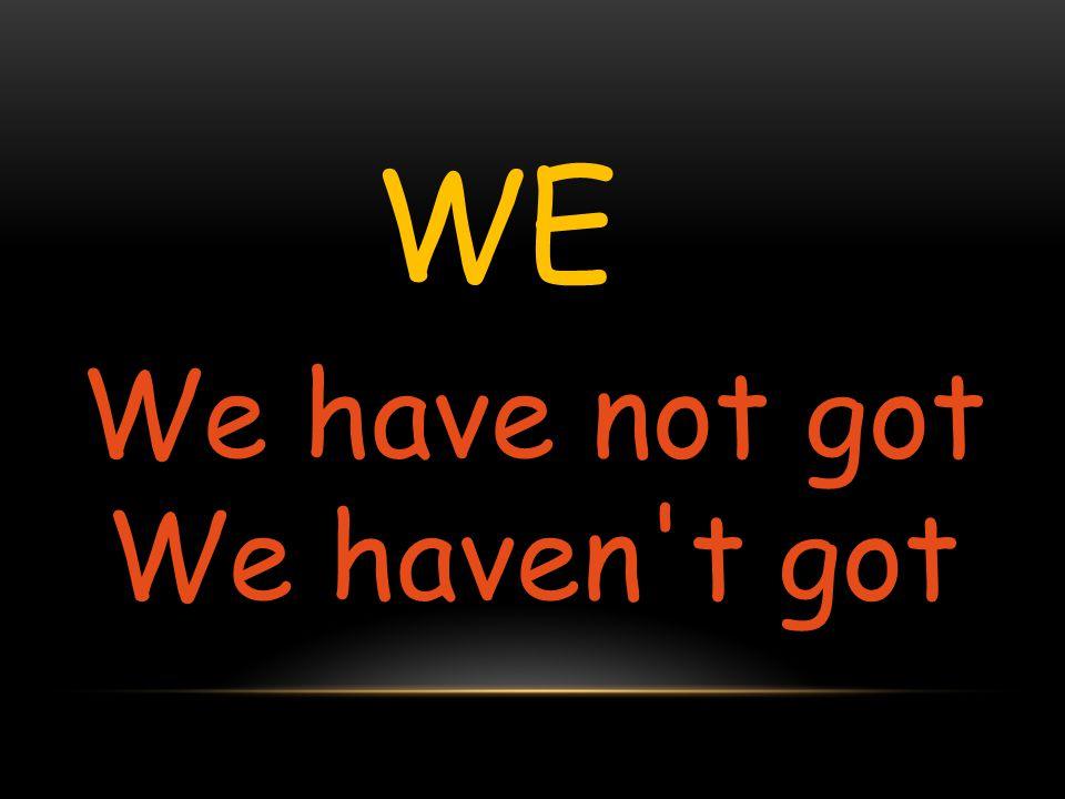 WE We have not got We haven't got