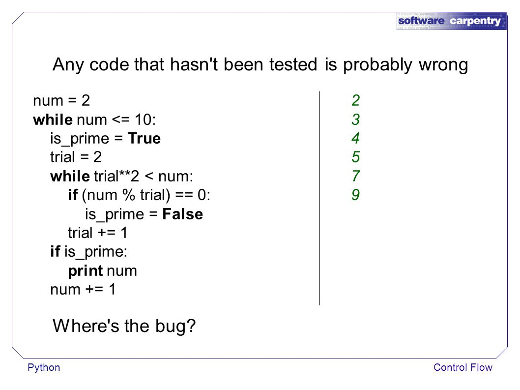 PythonControl Flow Any code that hasn t been tested is probably wrong num = 2 while num <= 10: is_prime = True trial = 2 while trial**2 < num: if (num % trial) == 0: is_prime = False trial += 1 if is_prime: print num num += 1 234579234579 Where s the bug