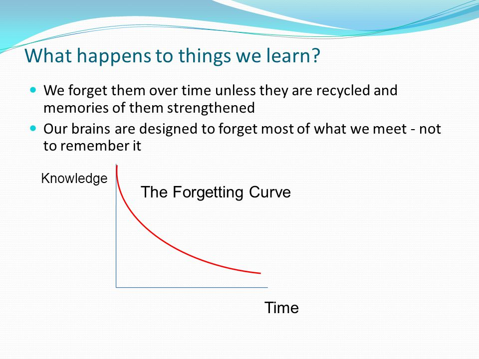 What happens to things we learn.