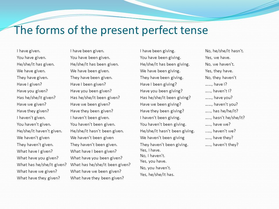 The forms of the present perfect tense I have given.
