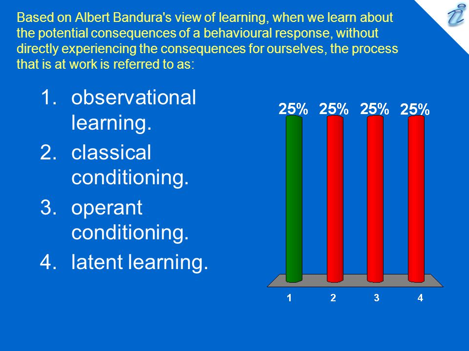 Based on Albert Bandura's view of learning, when we learn about the potential consequences of a behavioural response, without directly experiencing th