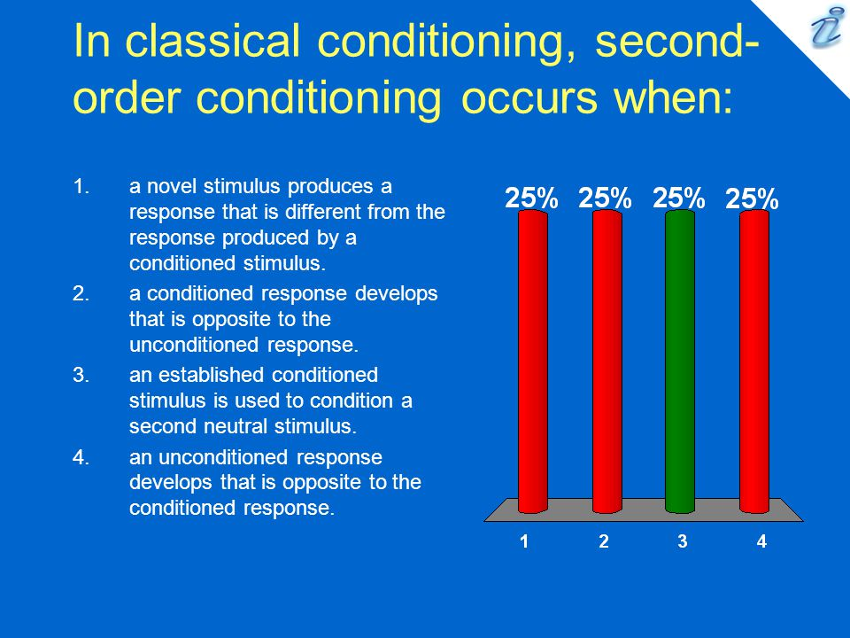 In classical conditioning, second- order conditioning occurs when: 1.a novel stimulus produces a response that is different from the response produced