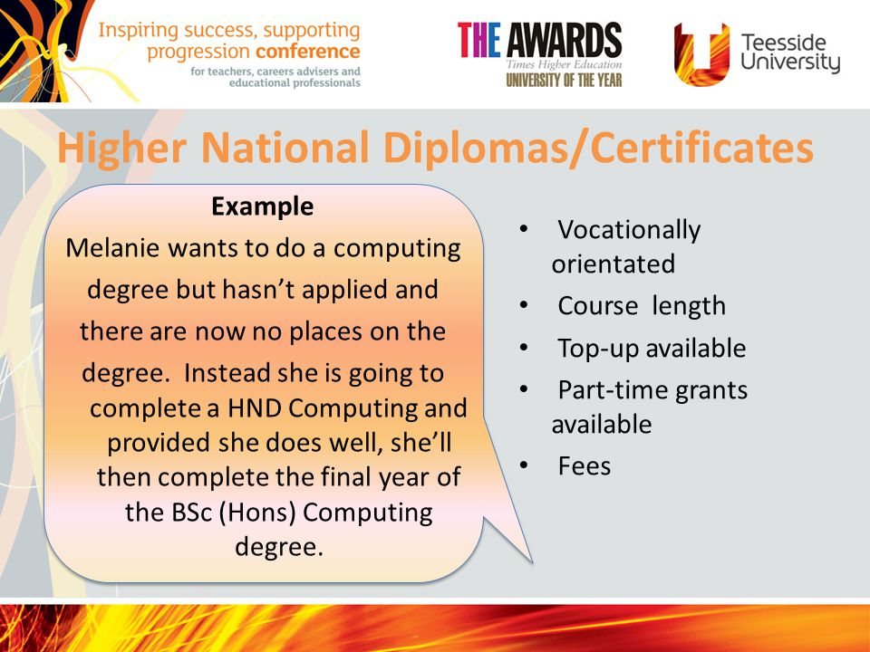 Higher National Diplomas/Certificates Example Melanie wants to do a computing degree but hasn't applied and there are now no places on the degree.