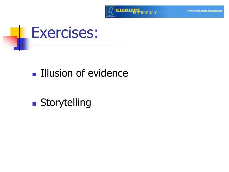 Illusion of evidence Storytelling Exercises: