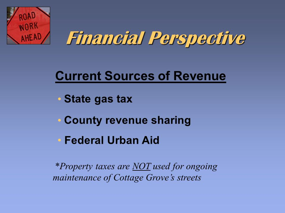 Current Sources of Revenue State gas tax County revenue sharing Federal Urban Aid *Property taxes are NOT used for ongoing maintenance of Cottage Grov