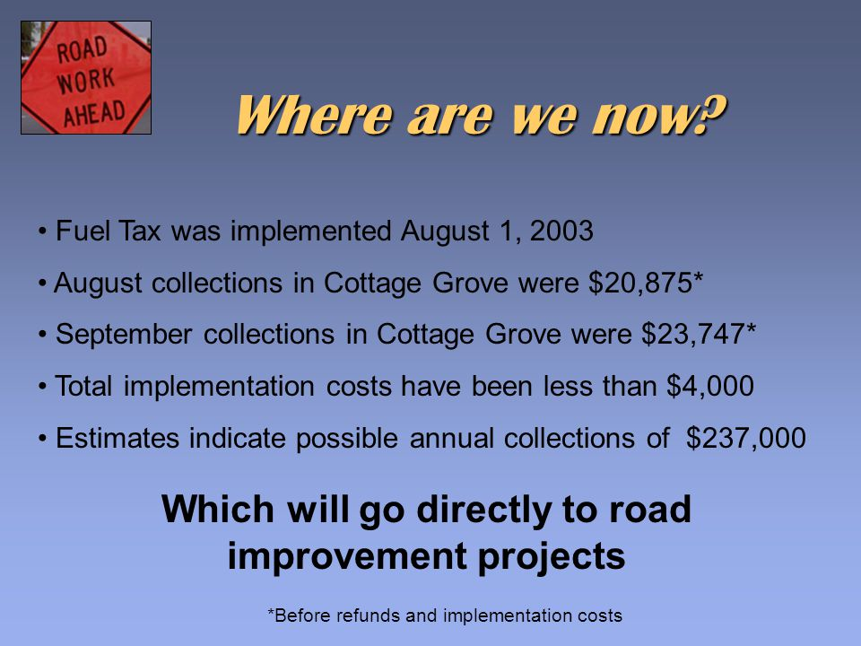 Fuel Tax was implemented August 1, 2003 August collections in Cottage Grove were $20,875* September collections in Cottage Grove were $23,747* Total implementation costs have been less than $4,000 Estimates indicate possible annual collections of $237,000 *Before refunds and implementation costs Where are we now.