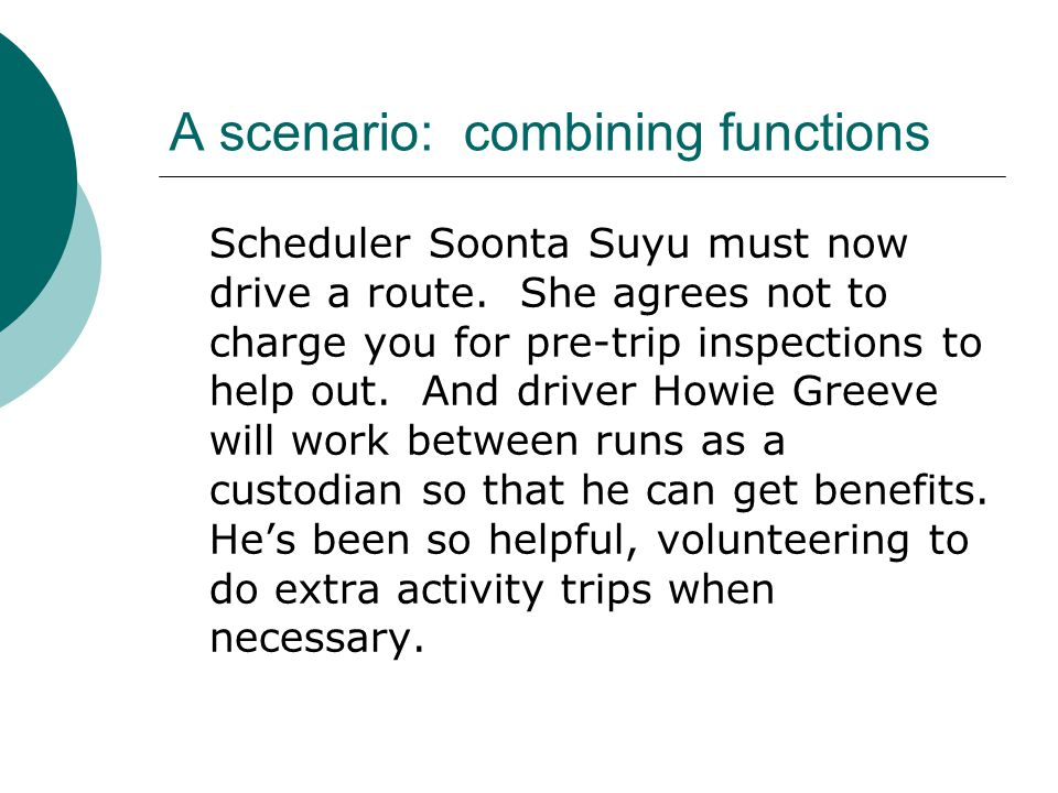 A scenario: combining functions Scheduler Soonta Suyu must now drive a route.