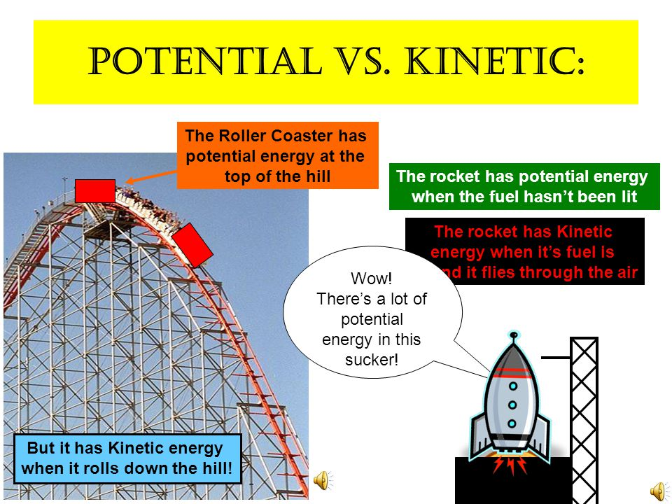 Kinetic energy: Kinetic: Energy of movement Ball falling down = Movement Movement = Kinetic Energy Gravity pulls the liquid down through the hole.