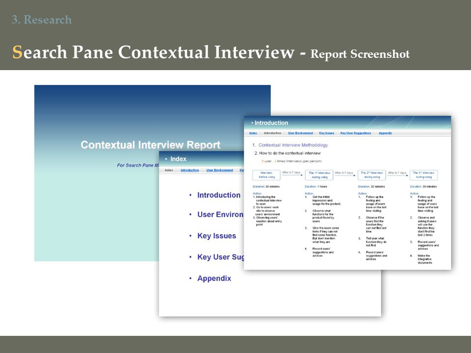 3. Research Search Pane Contextual Interview - Report Screenshot