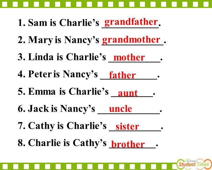 1. Sam is Charlie's ___________. 2. Mary is Nancy's ____________. 3. Linda is Charlie's __________. 4. Peter is Nancy's ___________. 5. Emma is Charli