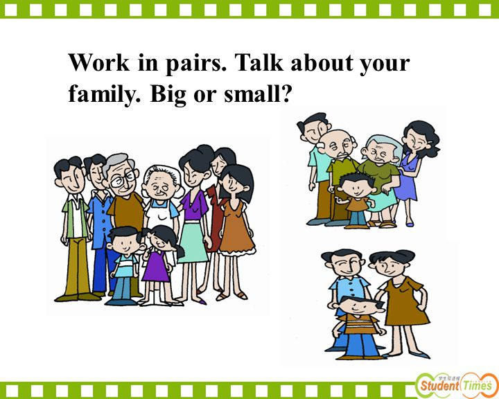 Work in pairs. Talk about your family. Big or small?