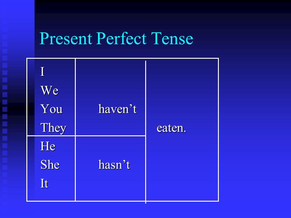 Present Perfect Tense IWe Youhaven't Theyeaten. He Shehasn't It