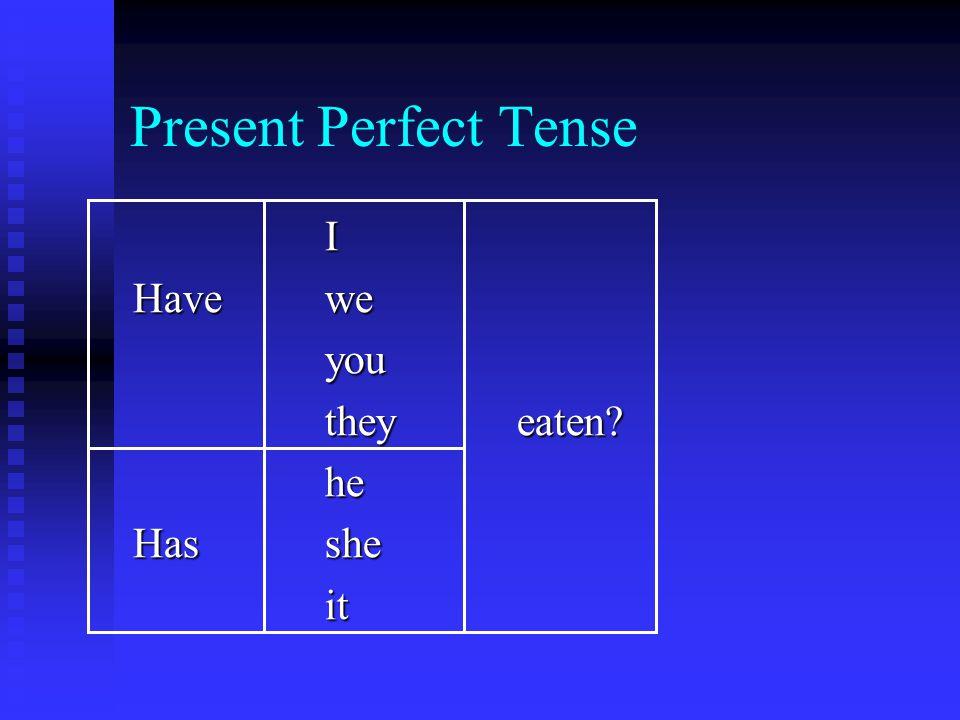 Present Perfect Tense I Havewe you theyeaten he Hasshe it