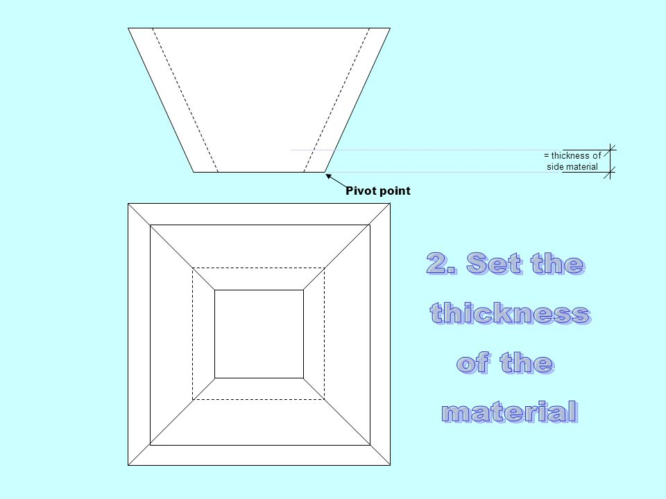 = thickness of side material Pivot point