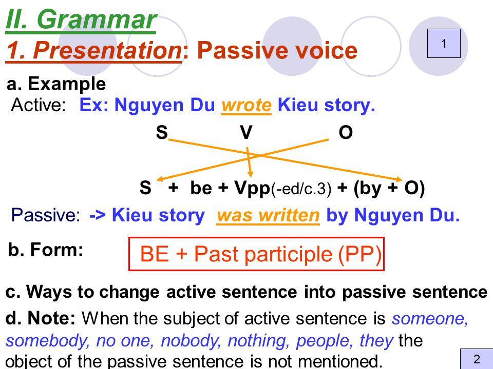II. Grammar 1. Presentation: Passive voice Active: Ex: Nguyen Du wrote Kieu story.