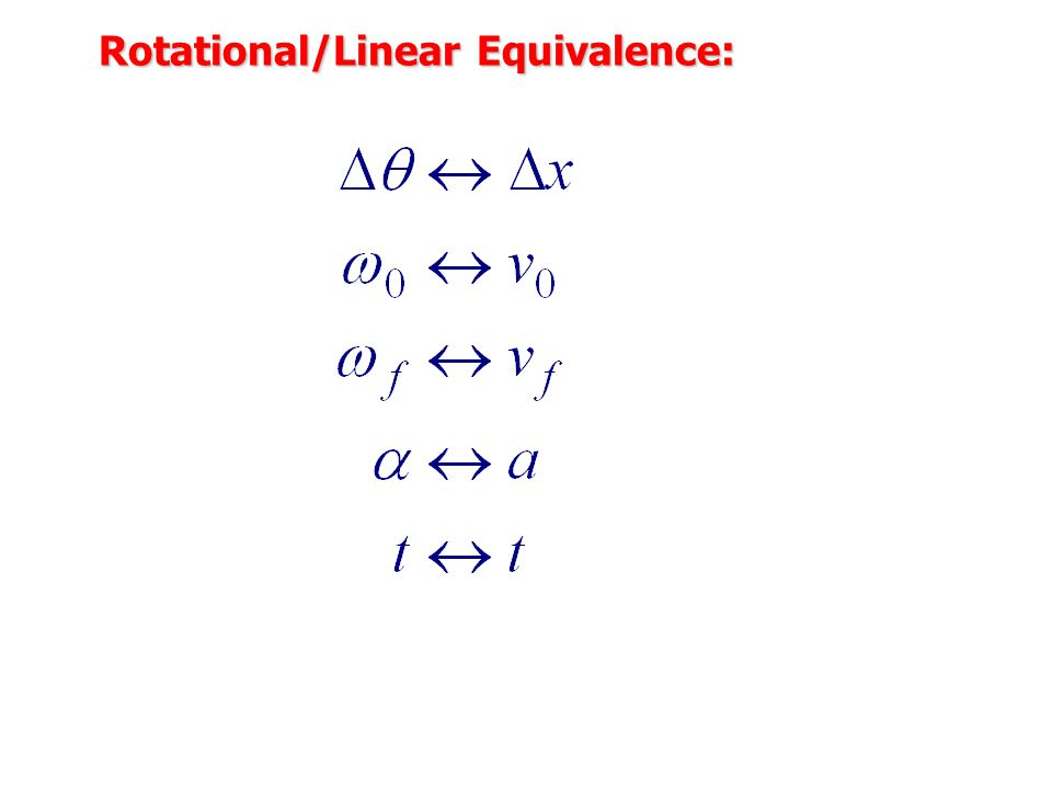 Linear and Rotational Motion Analogies Rotational MotionLinear Motion
