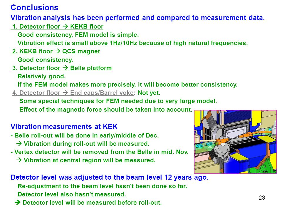 23 Conclusions Vibration analysis has been performed and compared to measurement data.