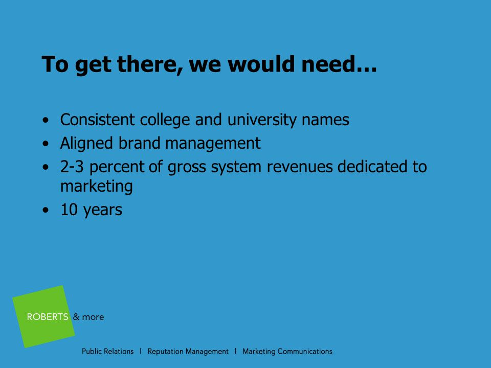 To get there, we would need… Consistent college and university names Aligned brand management 2-3 percent of gross system revenues dedicated to marketing 10 years