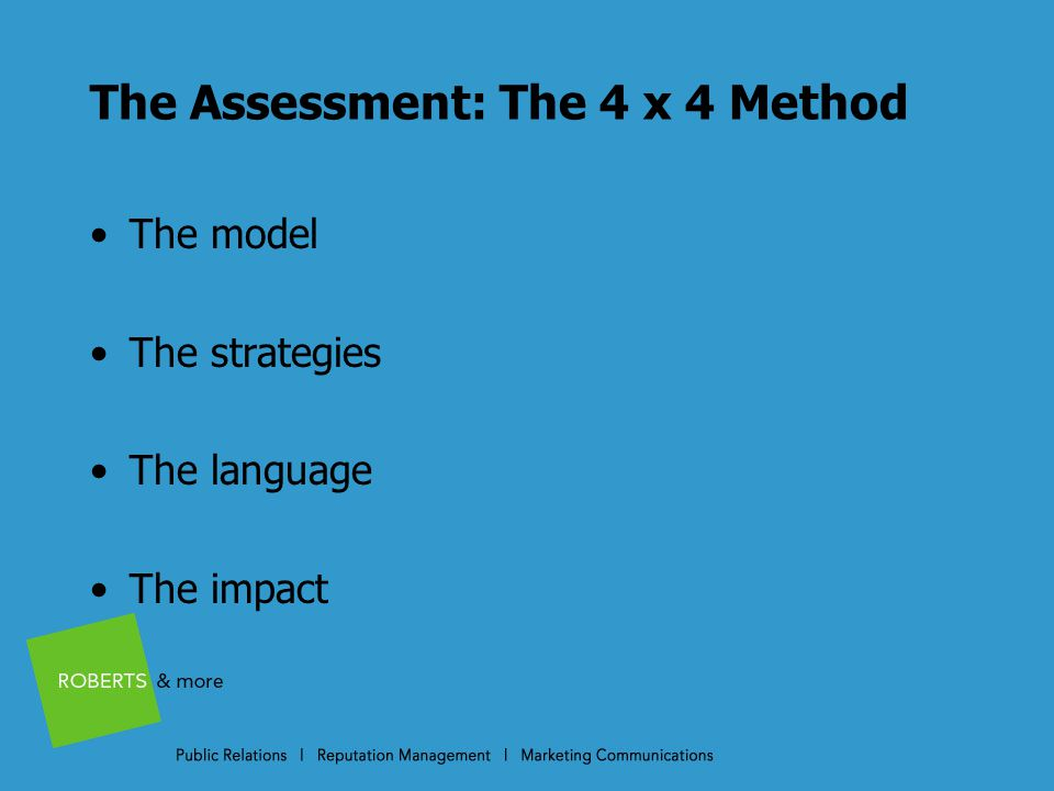 The Assessment: The 4 x 4 Method The model The strategies The language The impact
