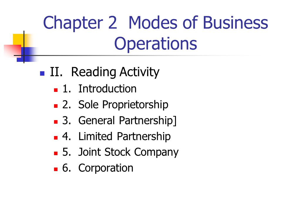 Chapter 2 Modes of Business Operations II. Reading Activity 1.