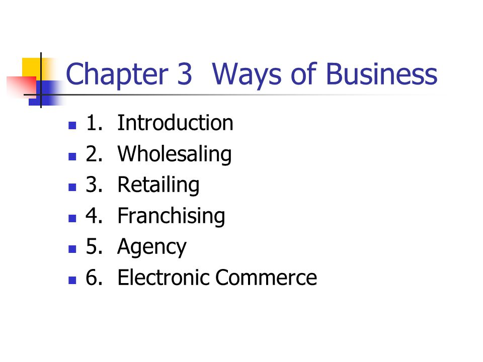 Chapter 3 Ways of Business 1. Introduction 2. Wholesaling 3.