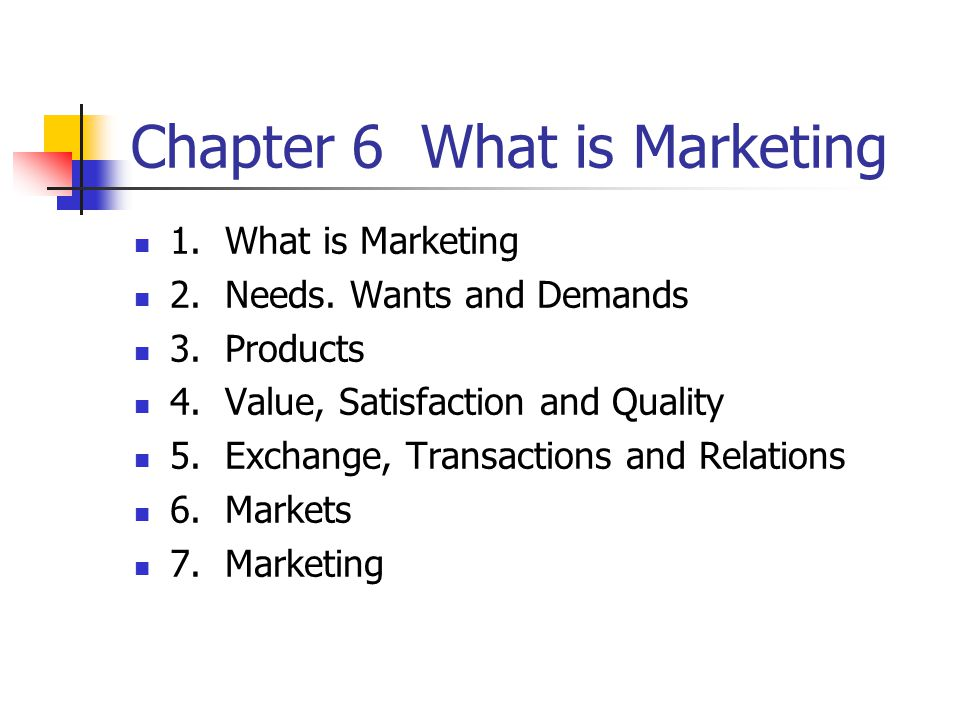 Chapter 6 What is Marketing 1. What is Marketing 2.