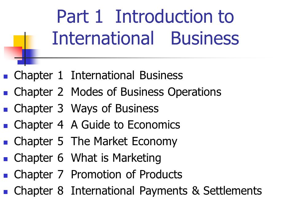 Part 1 Introduction to International Business Chapter 1 International Business Chapter 2 Modes of Business Operations Chapter 3 Ways of Business Chapter 4 A Guide to Economics Chapter 5 The Market Economy Chapter 6 What is Marketing Chapter 7 Promotion of Products Chapter 8 International Payments & Settlements