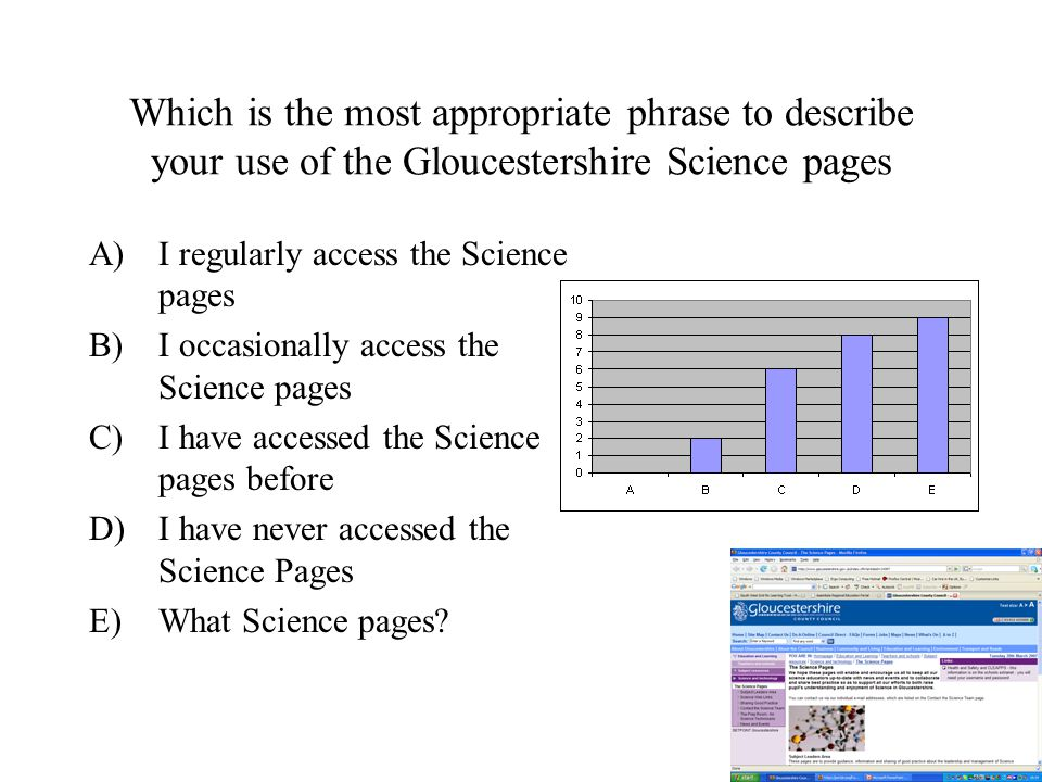 Which is the most appropriate phrase to describe your use of the Gloucestershire Science pages A)I regularly access the Science pages B)I occasionally access the Science pages C)I have accessed the Science pages before D)I have never accessed the Science Pages E)What Science pages