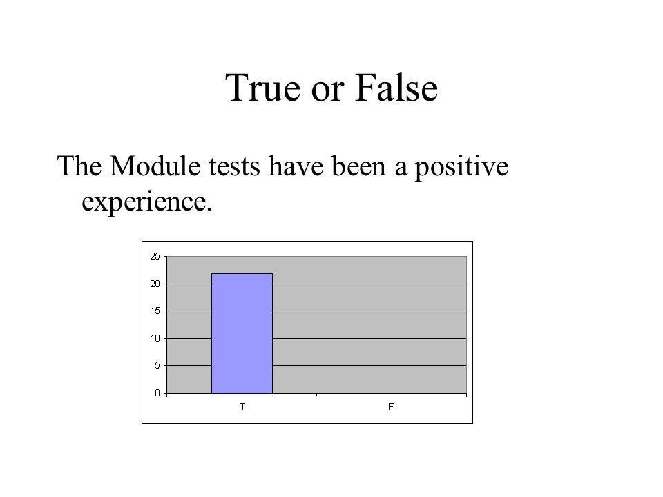 True or False The Module tests have been a positive experience.