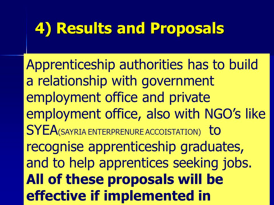 Apprenticeship authorities has to build a relationship with government employment office and private employment office, also with NGO's like SYEA (SAYRIA ENTERPRENURE ACCOISTATION) to recognise apprenticeship graduates, and to help apprentices seeking jobs.