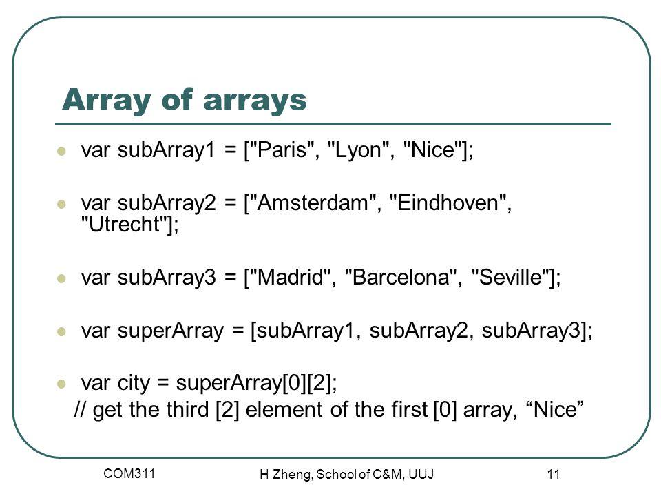 Array of arrays var subArray1 = [