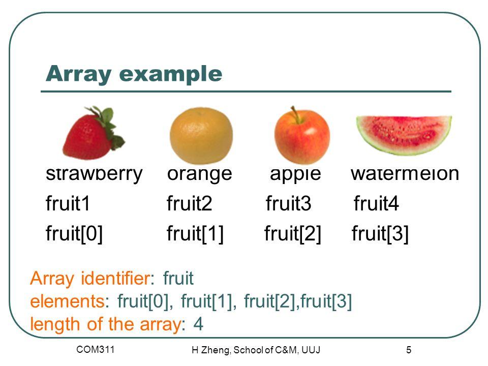 Array example strawberry orange apple watermelon fruit1 fruit2 fruit3 fruit4 fruit[0] fruit[1] fruit[2] fruit[3] COM311 H Zheng, School of C&M, UUJ 5