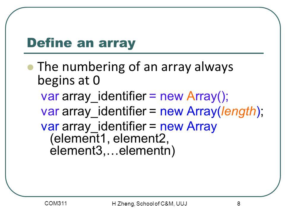 Define an array The numbering of an array always begins at 0 var array_identifier = new Array(); var array_identifier = new Array(length); var array_i