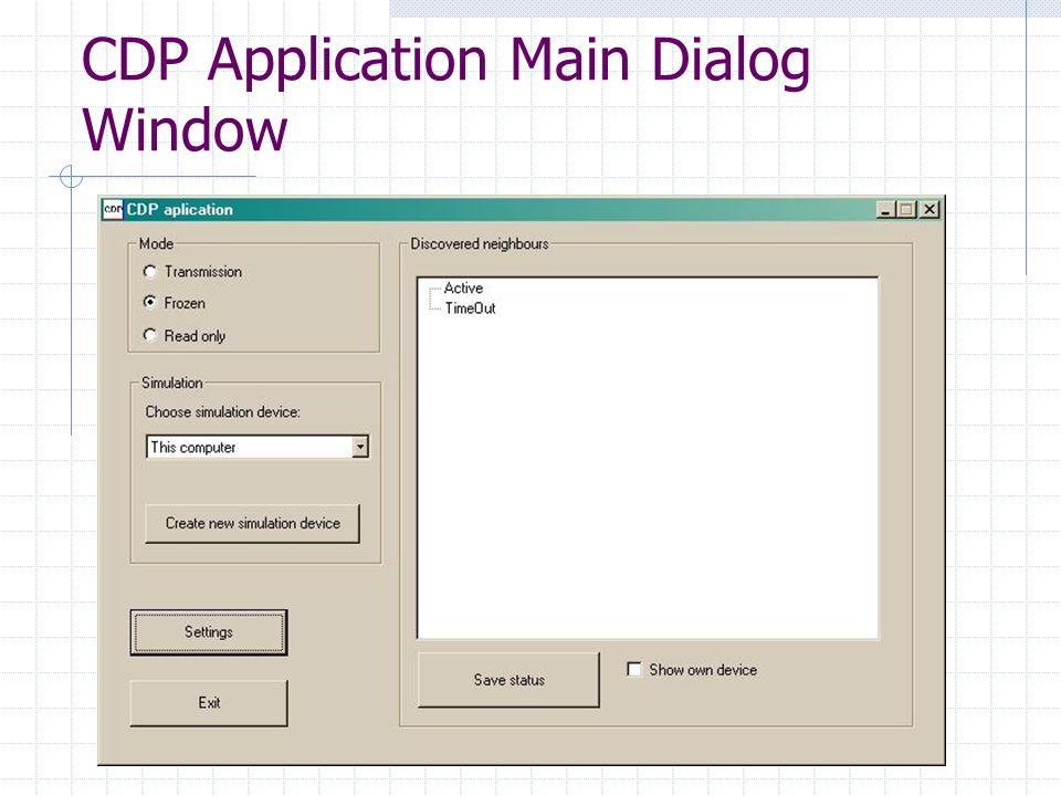 CDP Application Main Dialog Window