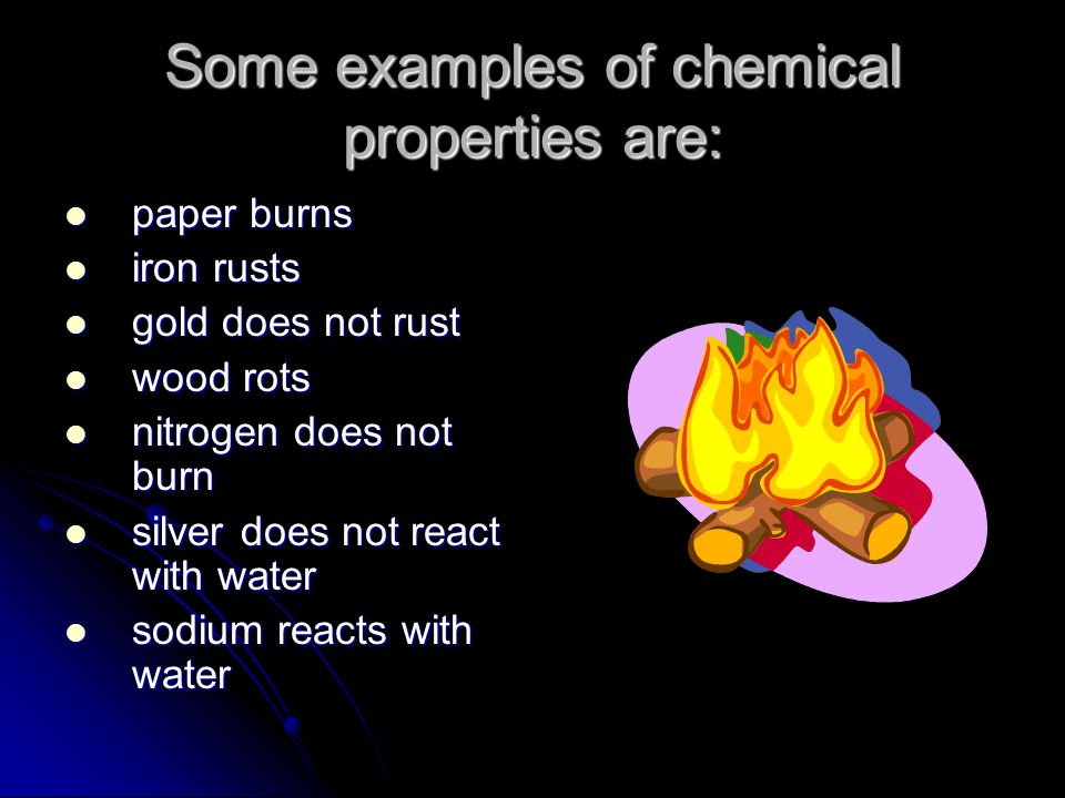 Chemical Property A chemical property describes an object/substances' ability to change into something new. A chemical property describes an object/su