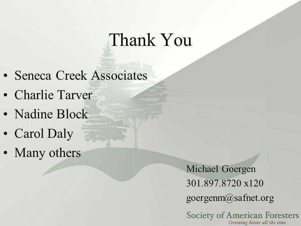 Thank You Michael Goergen 301.897.8720 x120 goergenm@safnet.org Seneca Creek Associates Charlie Tarver Nadine Block Carol Daly Many others