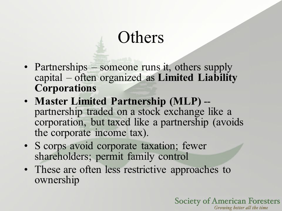 Others Partnerships – someone runs it, others supply capital – often organized as Limited Liability Corporations Master Limited Partnership (MLP) -- p