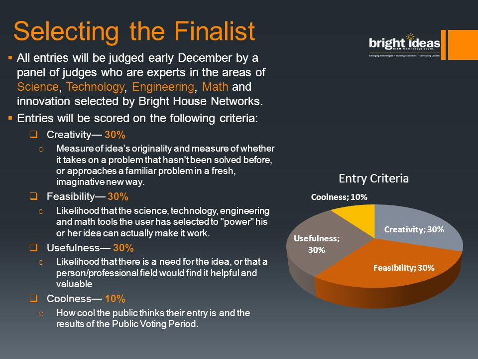 Selecting the Finalist  All entries will be judged early December by a panel of judges who are experts in the areas of Science, Technology, Engineeri