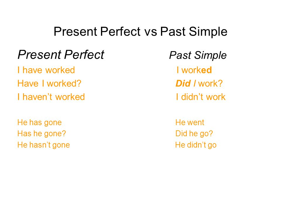 Present Perfect vs Past Simple Present Perfect Past Simple I have worked I worked Have I worked? Did I work? I haven't worked I didn't work He has gon