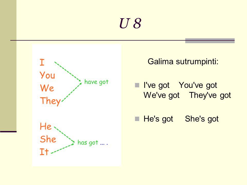 U 8 Galima sutrumpinti: I ve got You ve got We ve got They ve got He s got She s got