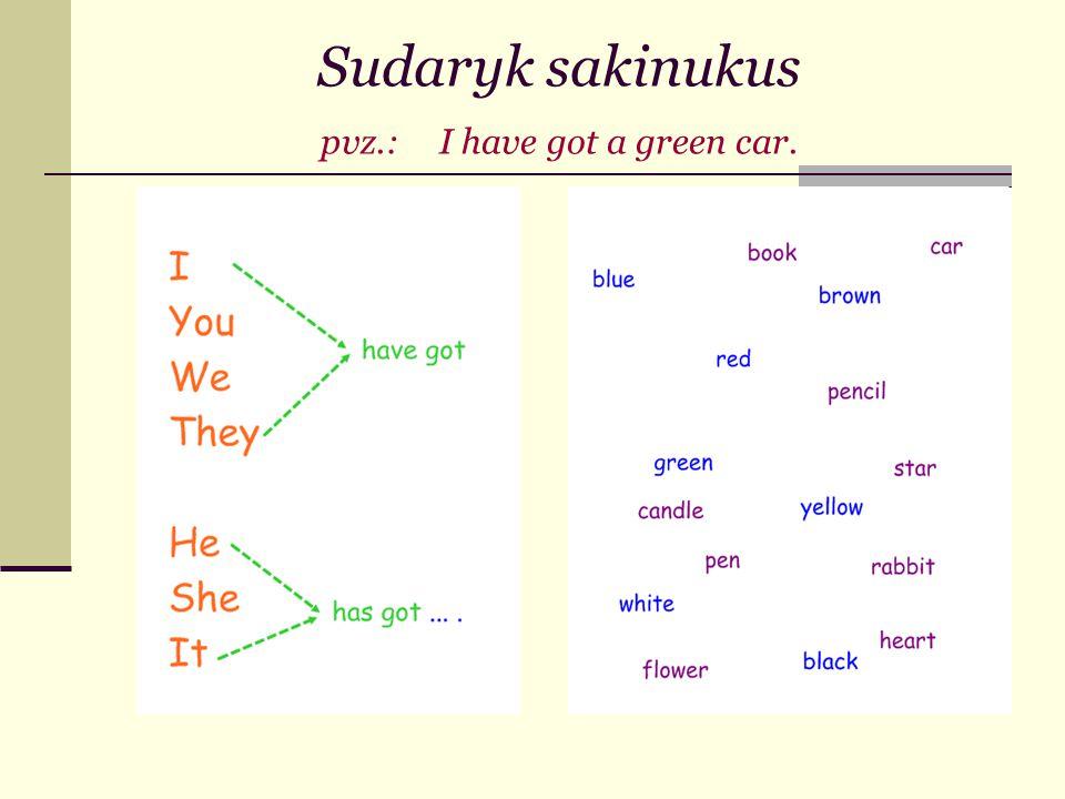Sudaryk sakinukus pvz.: I have got a green car.
