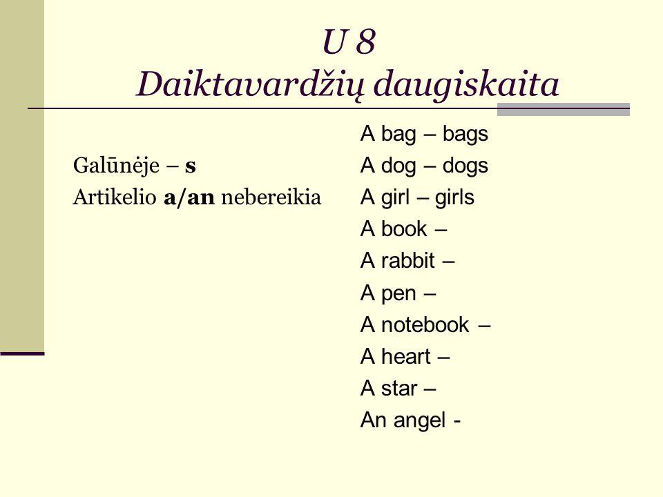 U 8 Daiktavardžių daugiskaita Galūnėje – s Artikelio a/an nebereikia A bag – bags A dog – dogs A girl – girls A book – A rabbit – A pen – A notebook – A heart – A star – An angel -
