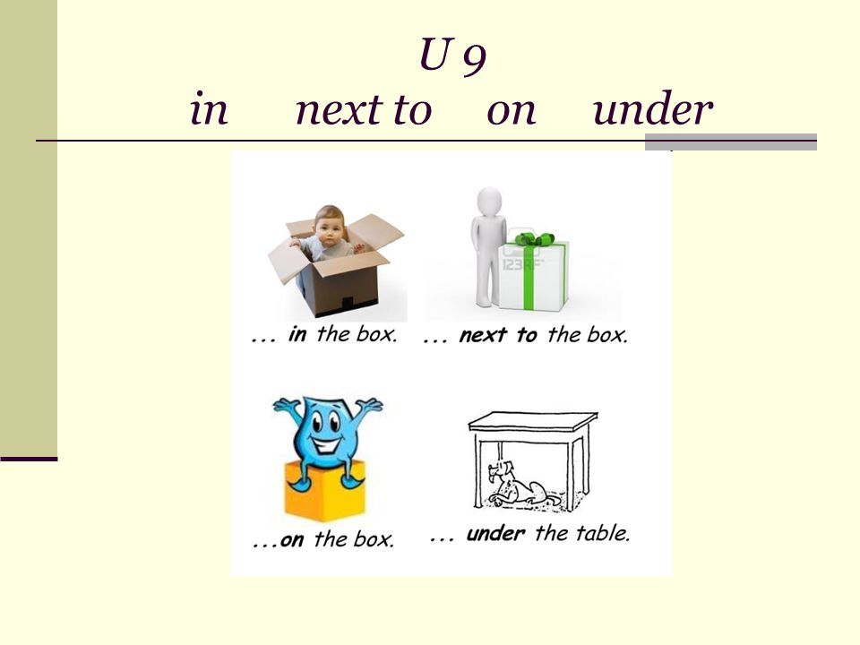 U 9 in next to on under