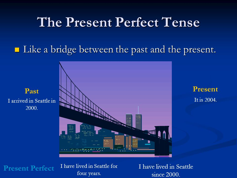 The Present Perfect Tense Like a bridge between the past and the present. Like a bridge between the past and the present. I arrived in Seattle in 2000