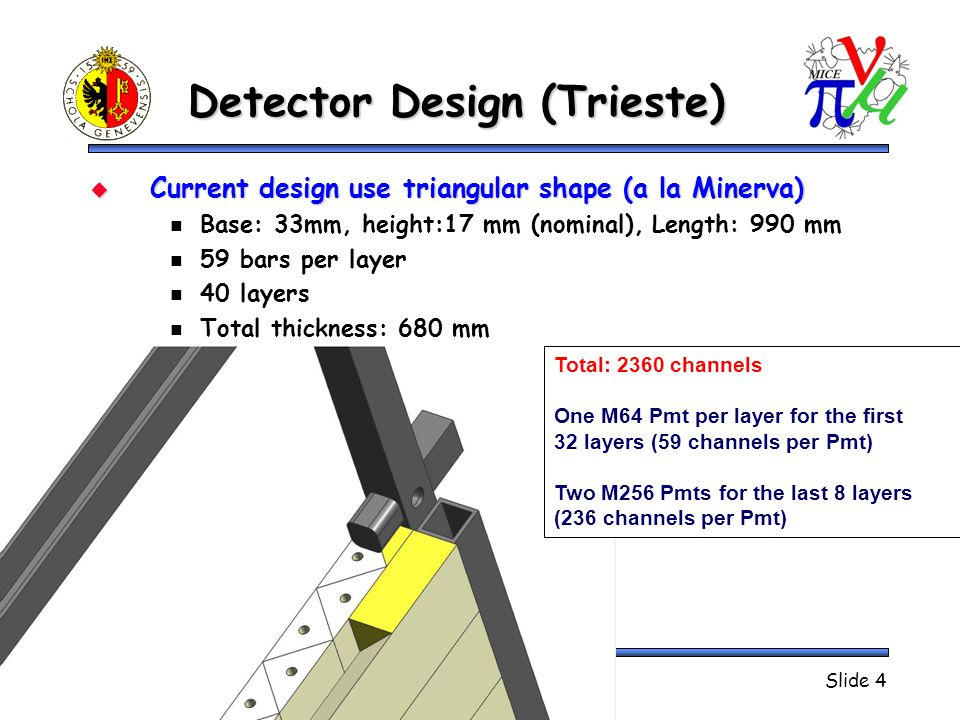 Detector Design (Trieste)  Current design use triangular shape (a la Minerva) Base: 33mm, height:17 mm (nominal), Length: 990 mm 59 bars per layer 40 layers Total thickness: 680 mm MICE CM January 2009Jean-Sébastien GraulichSlide 4 Total: 2360 channels One M64 Pmt per layer for the first 32 layers (59 channels per Pmt) Two M256 Pmts for the last 8 layers (236 channels per Pmt)