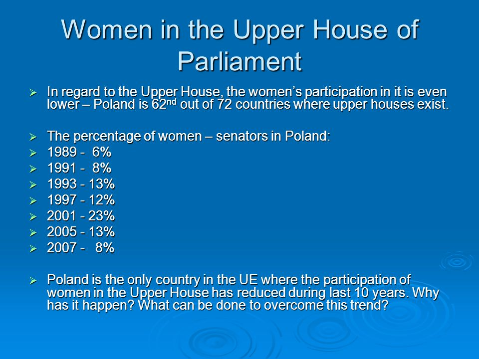 Women in the Upper House of Parliament  In regard to the Upper House, the women's participation in it is even lower – Poland is 62 nd out of 72 countries where upper houses exist.