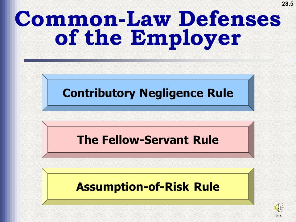 28.5 Common-Law Defenses of the Employer Contributory Negligence Rule The Fellow-Servant Rule Assumption-of-Risk Rule