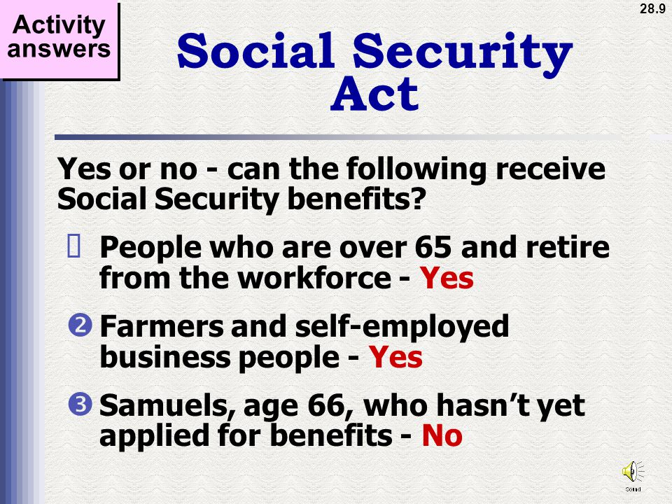 28.9 Social Security Act Yes or no - can the following receive Social Security benefits.