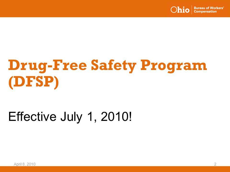 April 8, 20102 Drug-Free Safety Program (DFSP) Effective July 1, 2010!